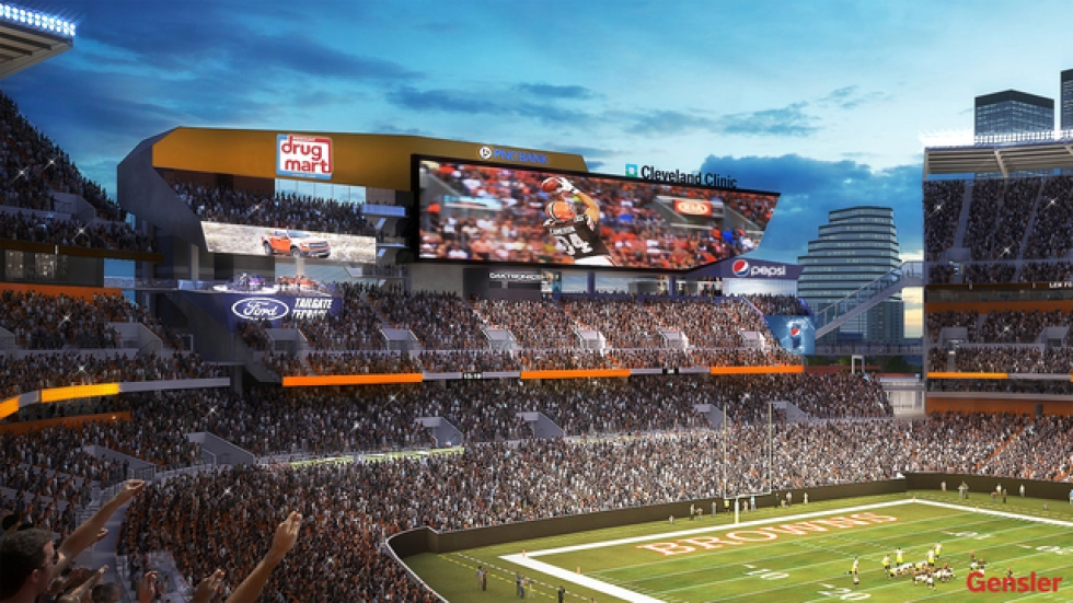 A rendering of one of two proposed new scoreboards, released by the Browns.