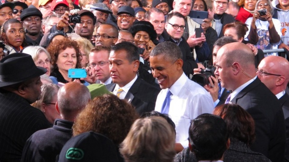 President Obama greeting supporters at the ArcelorMittal steel plant (pic: Brian Bull)