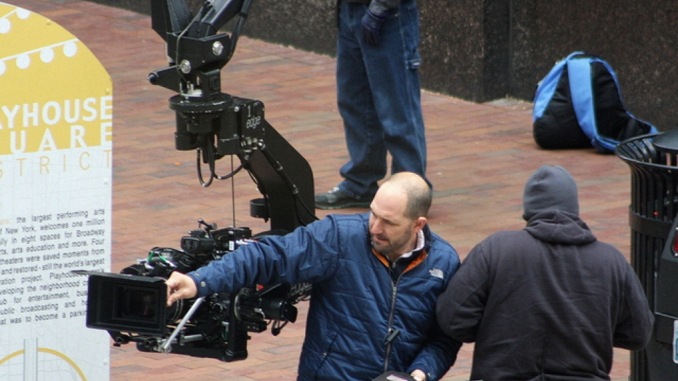 Film crew shooting in Playhouse Square (pic by Brian Bull)