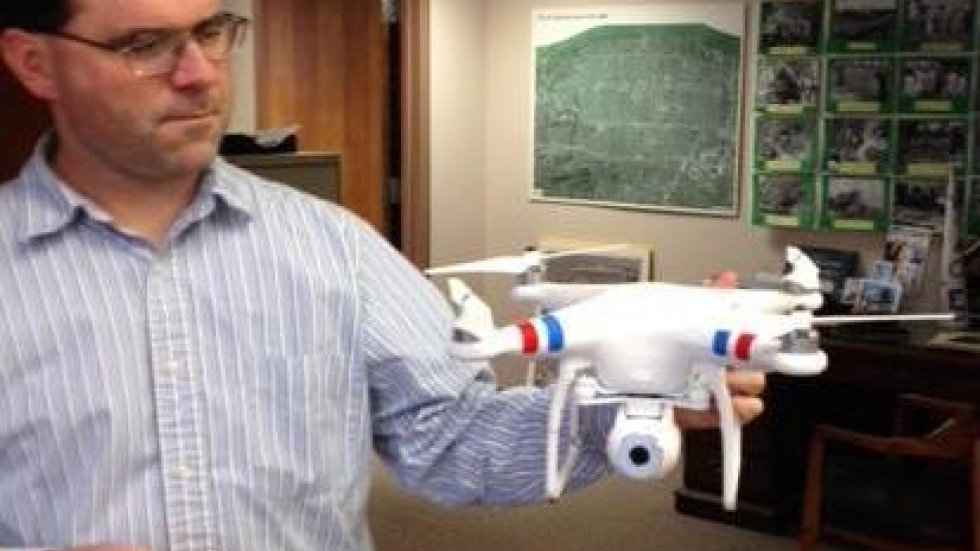 Lakewood public works director Joe Beno holds the city's drone. (photo from Mayor Mike Summers' Twitter account)