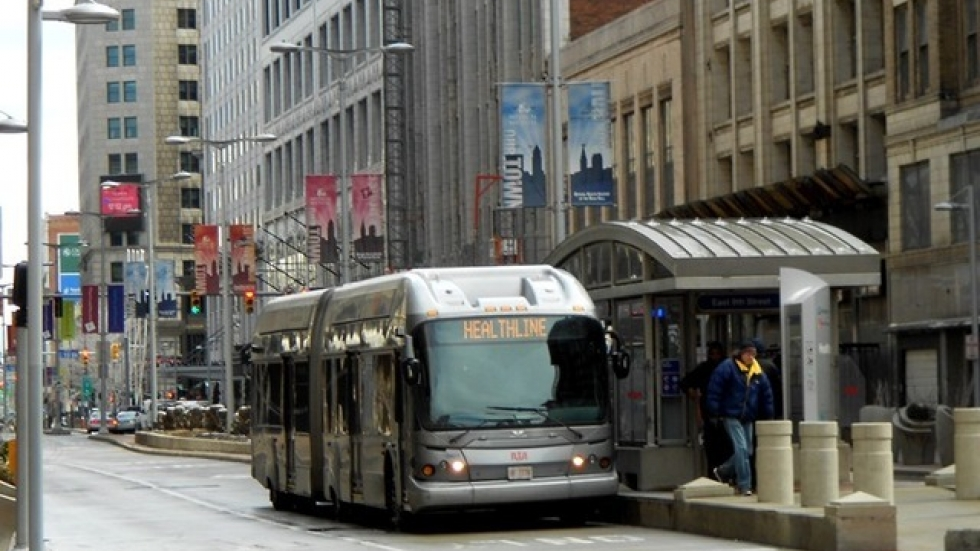 RTA says its buses and trains are designated Safe Areas (WCPN/Brian Bull)