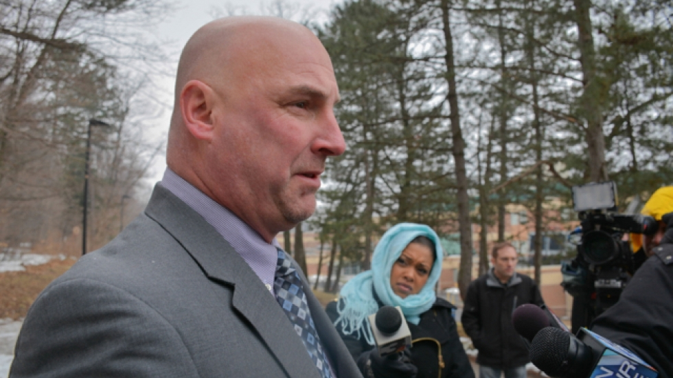 Cleveland police union president Jeffrey Follmer talks about the case with reporters in March 2014. (Nick Castele)