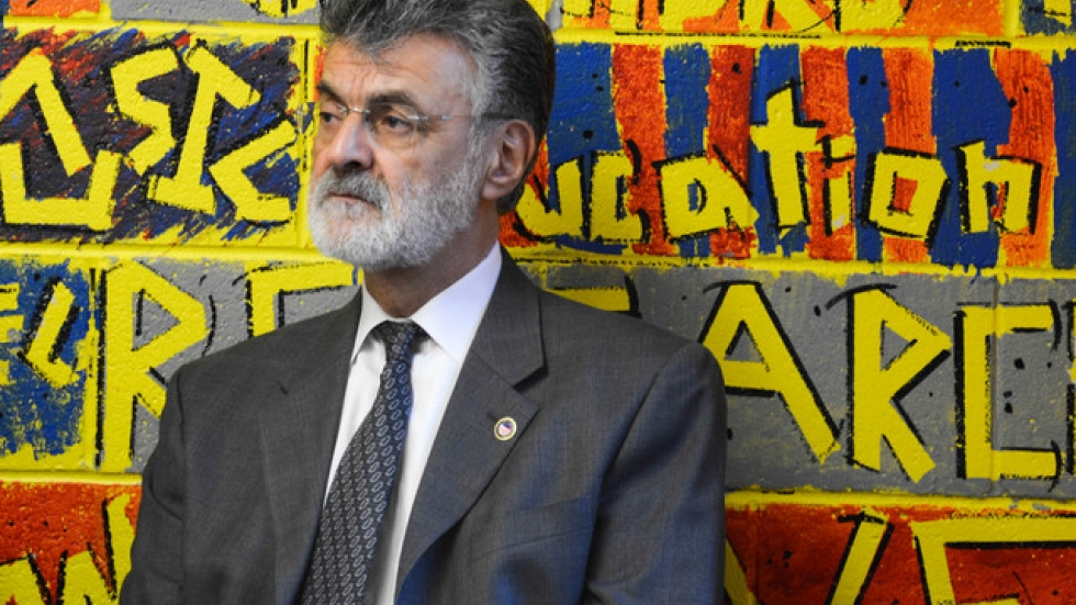 Cleveland Mayor Frank Jackson looks on at the announcement of his preschool plan. (Nick Castele / ideastream)