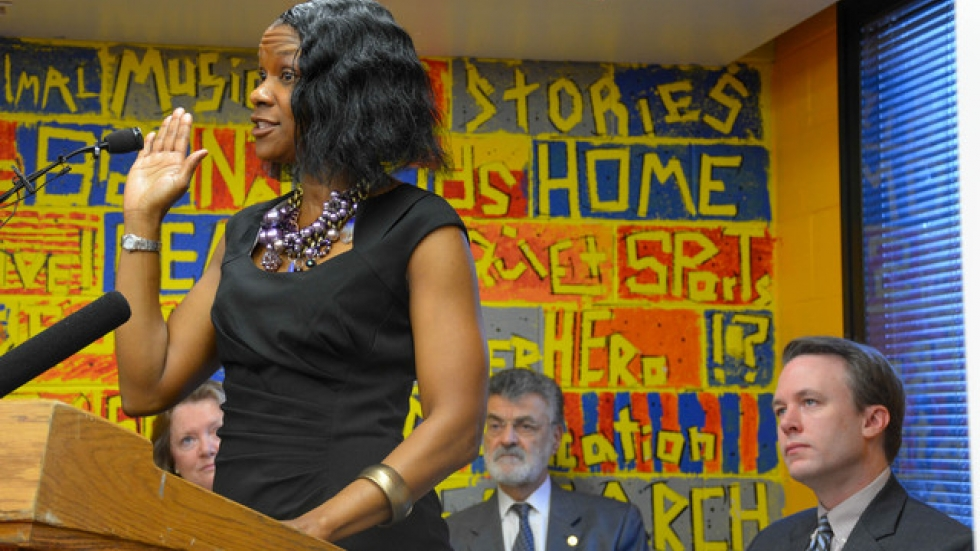 Cleveland preschool teacher Duanna Hunter speaks at the kickoff for PRE4CLE. (Nick Castele / ideastream)