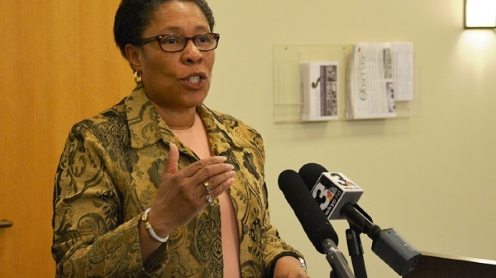 U.S. Rep. Marcia Fudge speaks at an event in Cleveland in March 2014. (Nick Castele / ideastream)