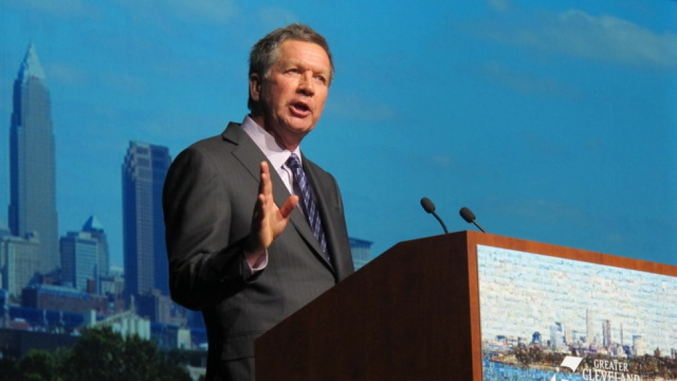 Kasich speaks to the Greater Cleveland Partnership earlier this year. (Brian Bull / ideastream)