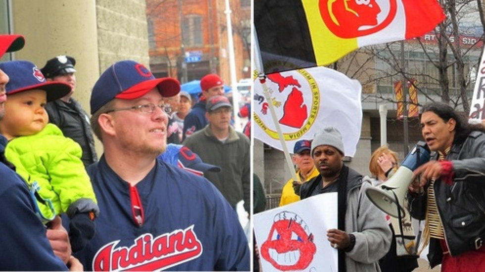 Fans and activists gathered at Progressive Field this afternoon, braving rain and wind (pic by Brian Bull)