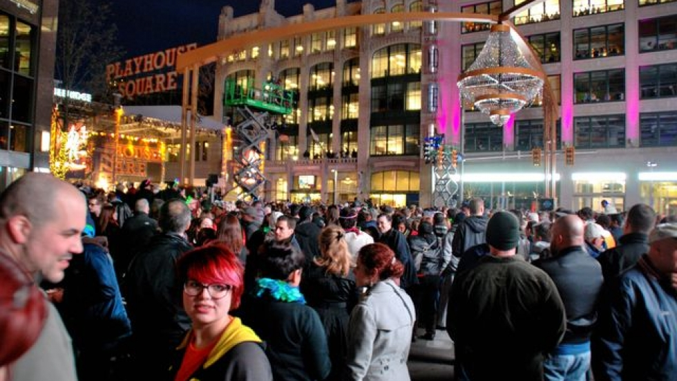 Thousands of Northeast Ohioans crowded Playhouse Square to see the chandelier lighting this year. (David C. Barnett)
