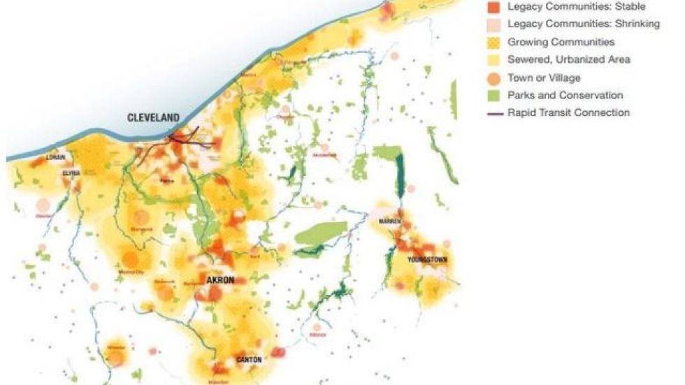 The VibrantNEO plan predicts Northeast Ohio's urbanized area will expand even as population inches up slowly. (NEOSCC)
