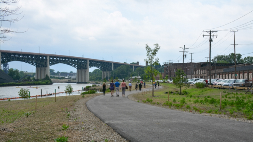 The Scranton Flats path winds past fish habitats and a pier.