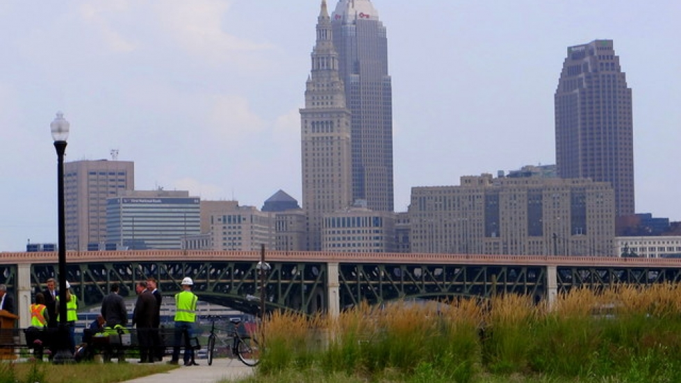 ODOT and AGC officials before Cleveland skyline (pic: Brian Bull)