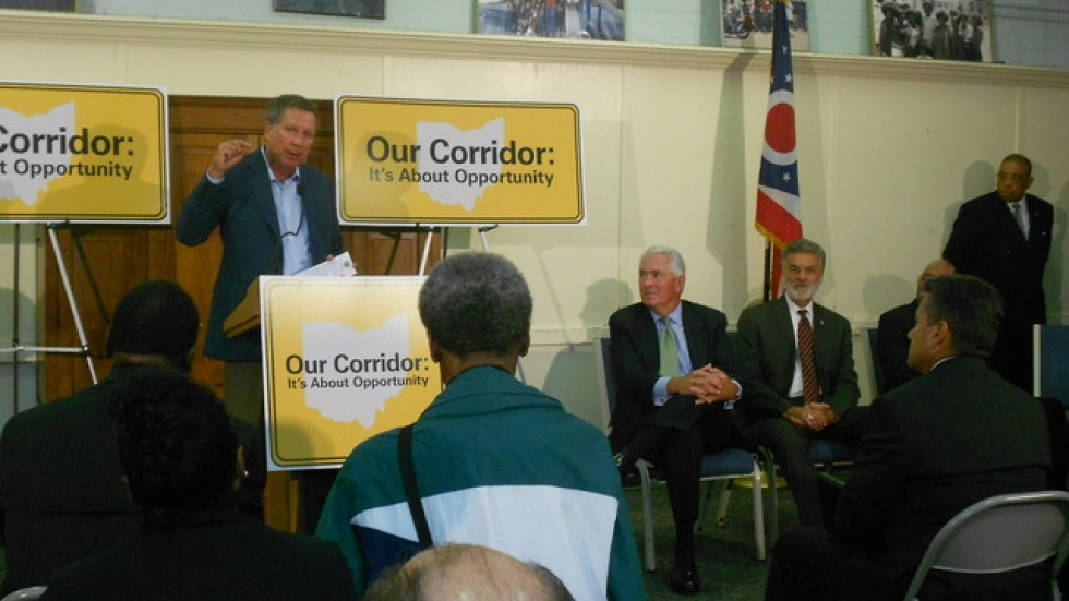 Governor John Kasich and local elected leaders tout minority contracting figures for the Opportunity Corridor project.