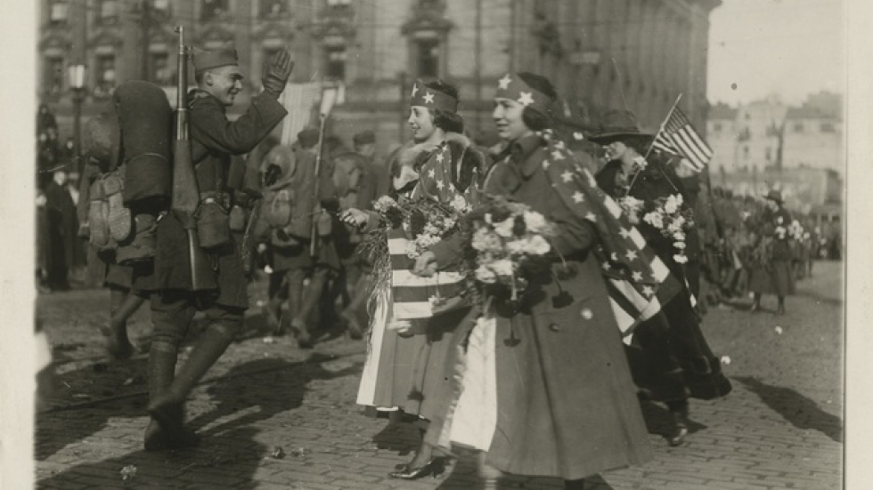 Flower girls welcome returning soldier, January 1919.  Photo: Western Reserve Historical Society