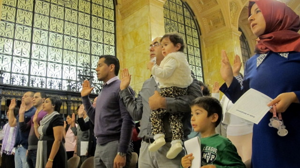 A crowd takes the Oath of Allegiance (pic: Brian Bull)