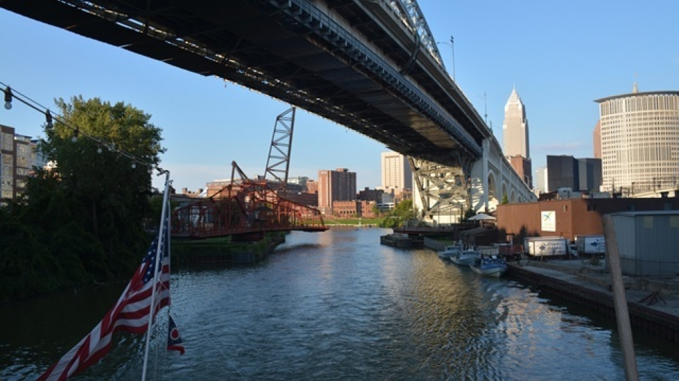 Foundations and governments have been investing money in parks along the Cuyahoga riverfront. (Nick Castele/ideastream)