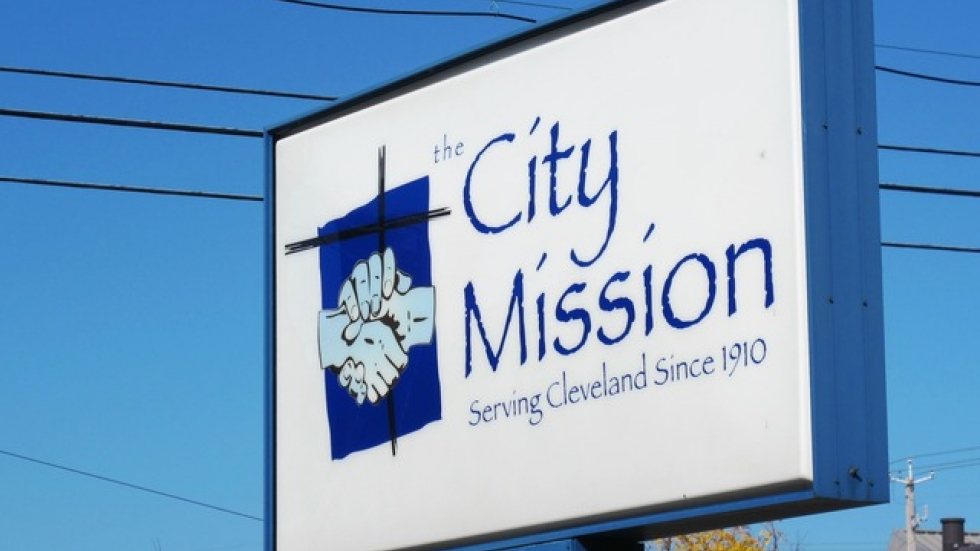 The City Mission's sign on Carnegie Avenue, Cleveland (pic: Brian Bull)