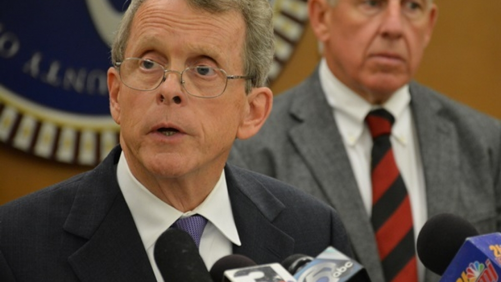 DeWine speaks at an unrelated press conference earlier this year. (Nick Castele / ideastream)