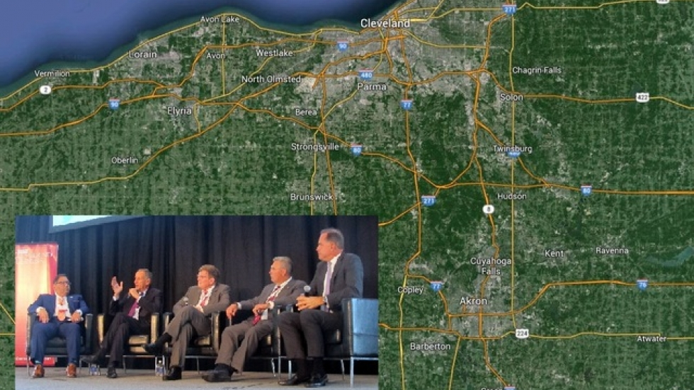 A map of Northeast Ohio, and a panel of health care executives at the Crain's Health Summit (pic: Sarah Jane Tribble)