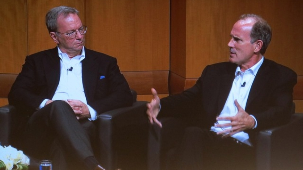 Google's Eric Schmidt (left) and Jonathan Rosenberg (right).