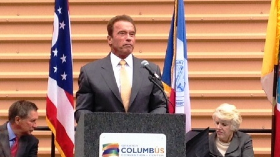 Arnold Schwarzenegger speaks in Columbus. (Jo Ingles / Ohio Public Radio)