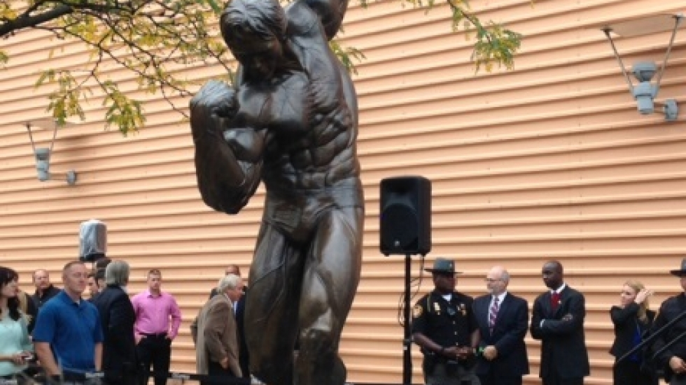 Bronze sculpture of Arnold Schwarzenegger unveiled at the Columbus Convention Center (Jo Ingles / Ohio Public Radio)