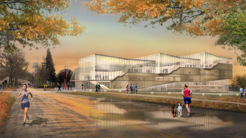 Designs for Kent State University's new architecture building, day.