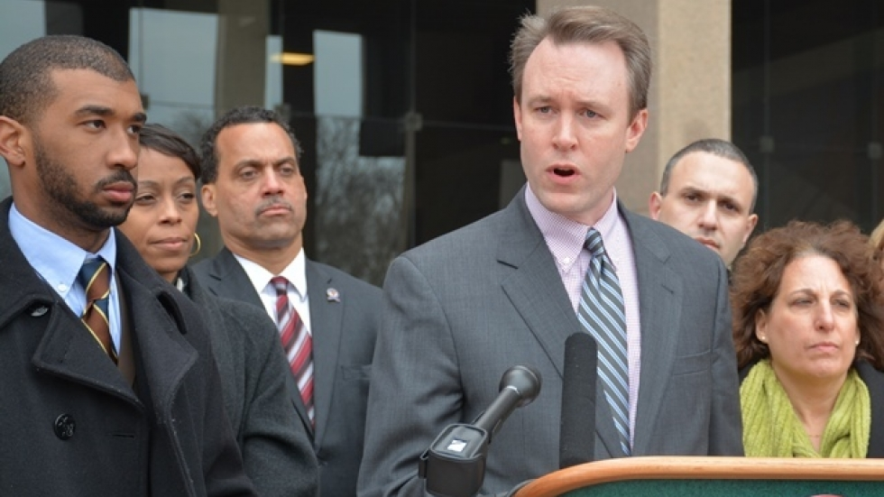 Ed FitzGerald speaks at a press conference earlier this year. (Nick Castele / ideastream)