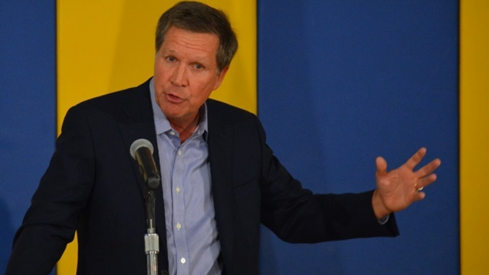 Kasich speaks at a 2014 bill-signing event in Cleveland. (Nick Castele / ideastream)