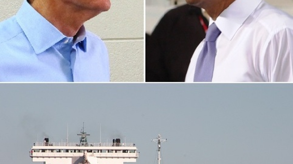 Rob Portman and Barack Obama (pics by Brian Bull); Container ship in Port of Cleveland (pic from Port of Cleveland)