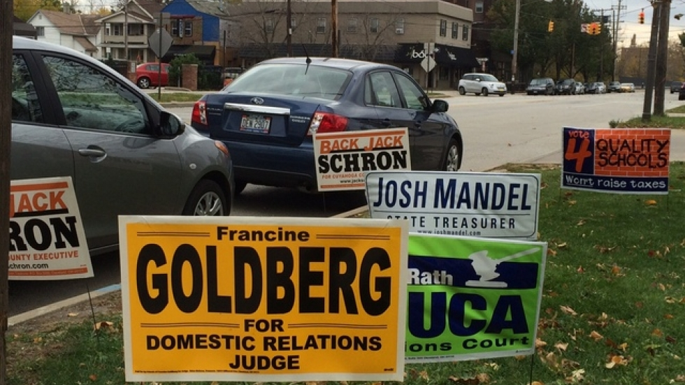 Campaign signs line a road (pic: Joanna Richards)