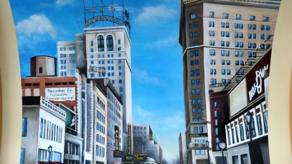 This new panel shows a scene from historic Playhouse Square