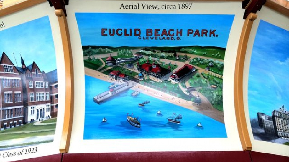 This new panel features a vintage postcard scene of Euclid Beach Park