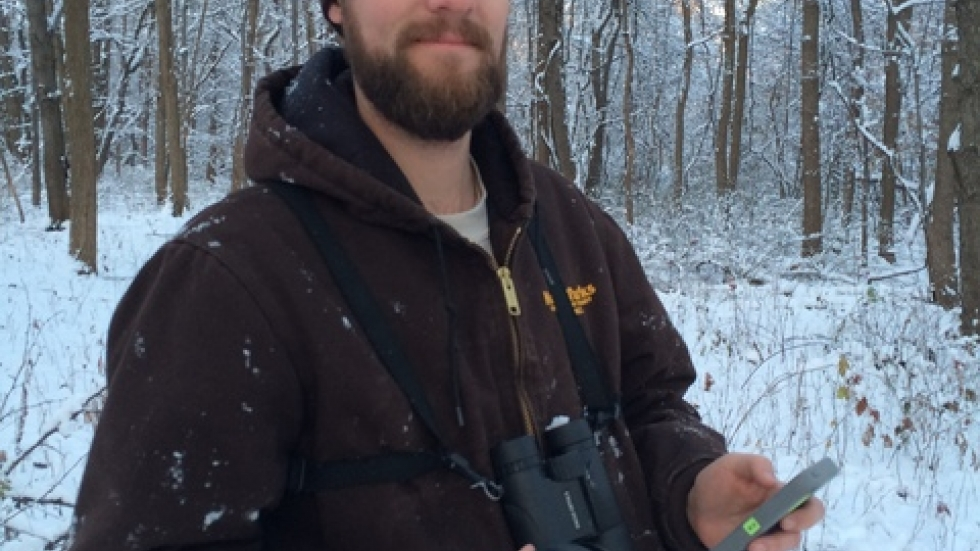 Summit Metro Parks' Ryan Trimbath, with turkey-calling gear (pic: Brian Bull)