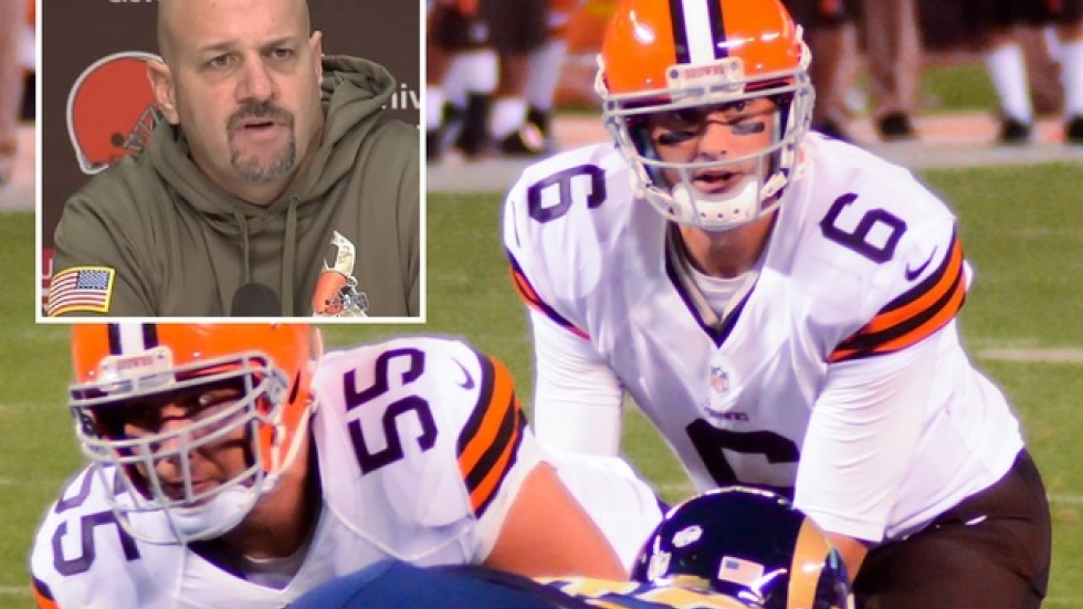 Browns Coach Mike Pettine (inset) and QB Brian Hoyer (Hoyer pic by flickr.com's Erik Drost)