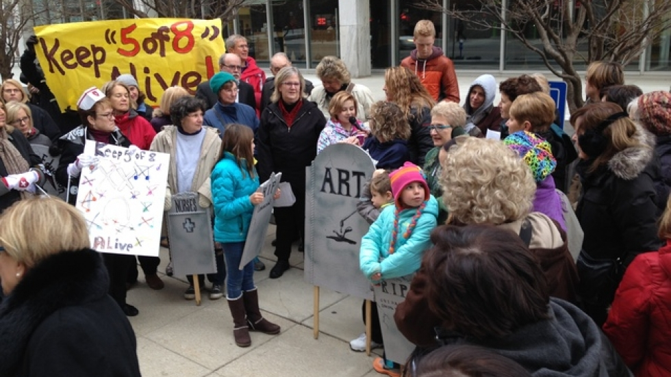 """Protestors opposing a change to the """"5 of 8"""" rule outside ODE headquarters. Photo courtesy of Andy Chow."""