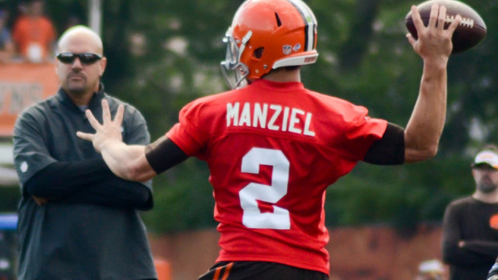 Manziel at Browns' training camp earlier this year. Photo courtesy of edrost88/Flickr.