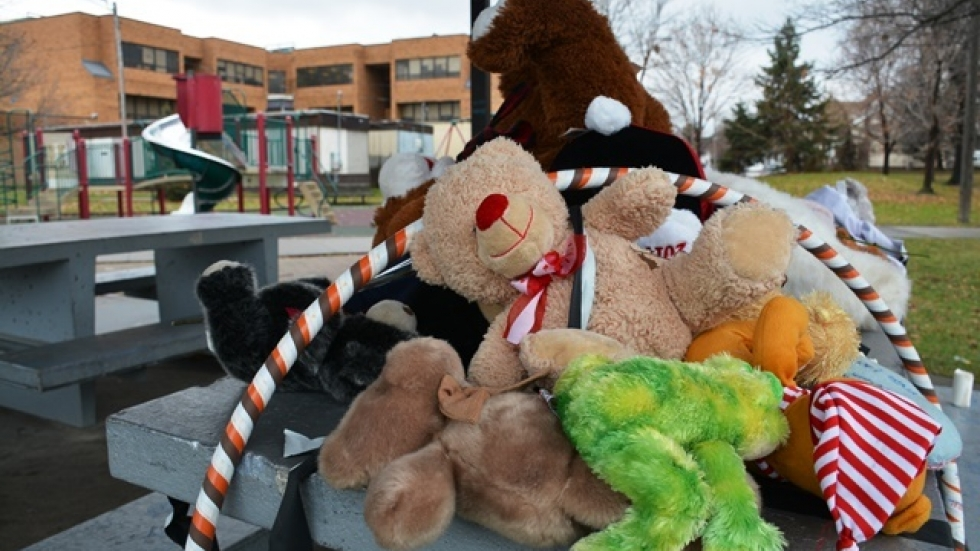 Neighbors and friends have put together a memorial to Tamir Rice at Cudell park. (Nick Castele / ideastream)
