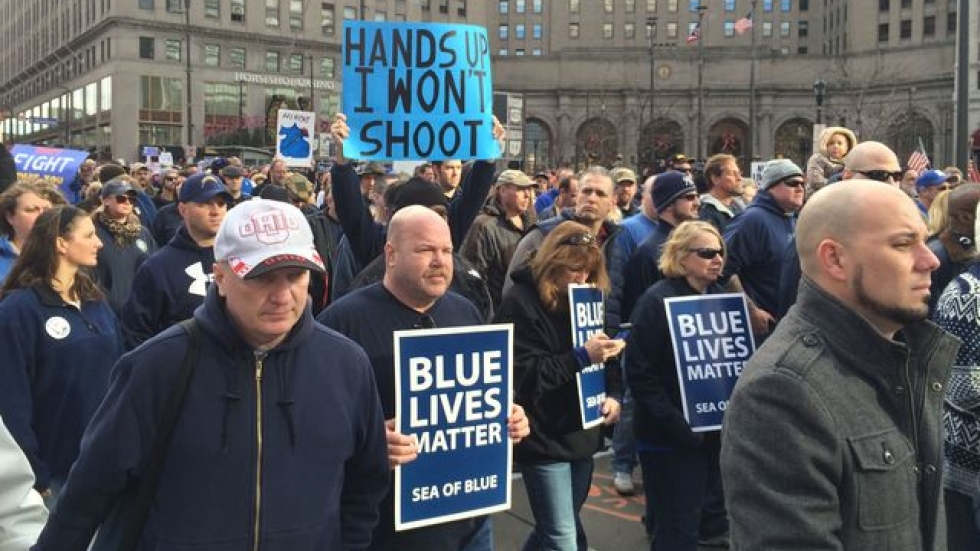 Demonstrators marched from Public Square to the Greater Cleveland Peace Officers Memorial
