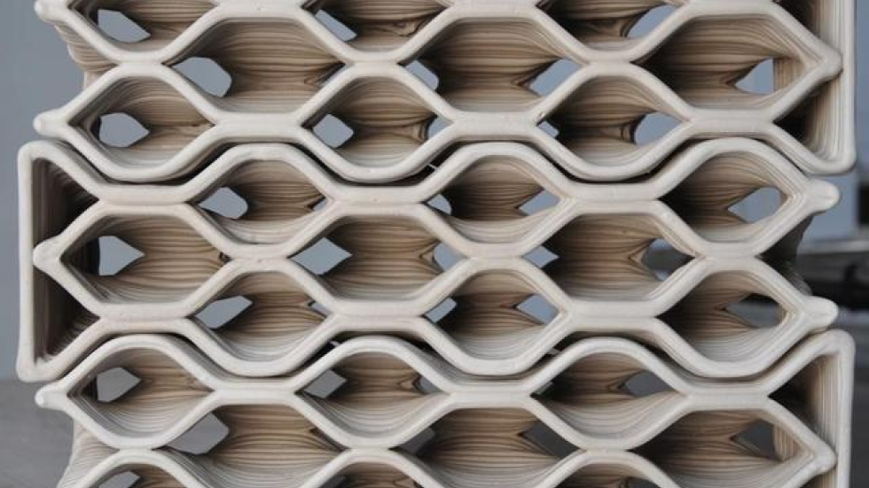 'Building Bytes': Bricks designed by computer and produced in a 3D printer nestle together.