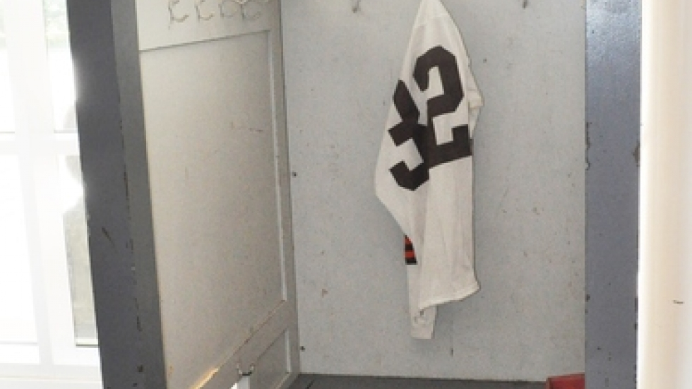 A locker from the old Cleveland Municipal Stadium is on display at an exhibition on the 64 Browns at the Western Reserve Historical Society.