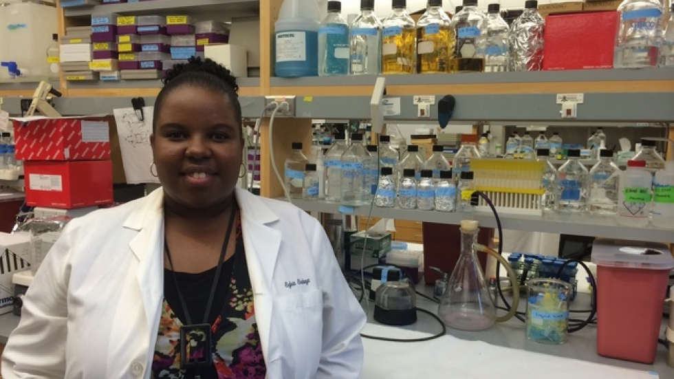 Postdoctural researcher Sylvia Shabaya Gayle hopes to find a new drug therapy to treat Triple Negative Breast Cancer.