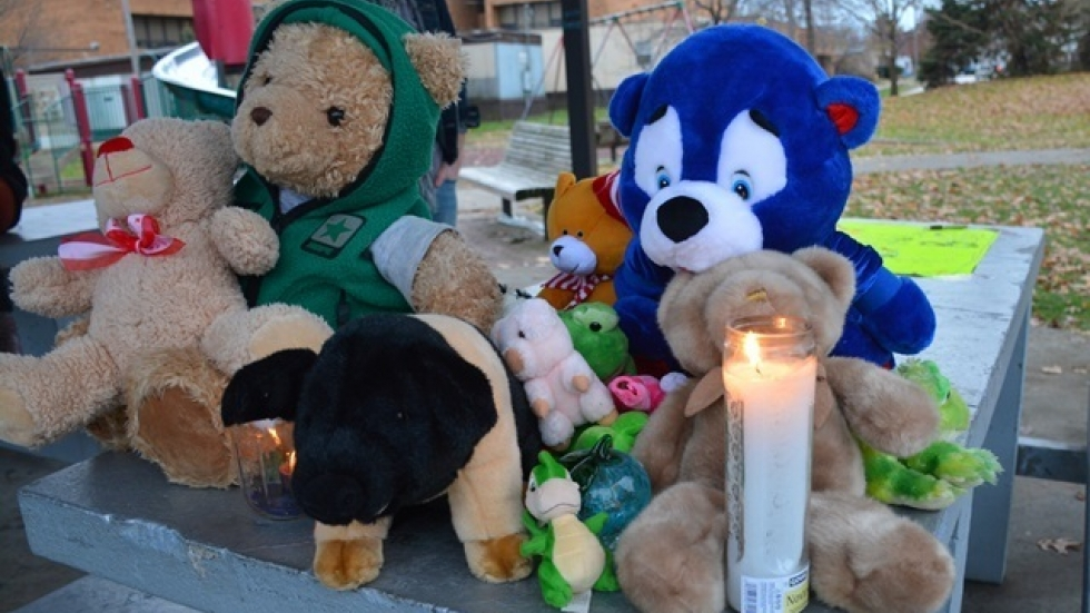 A memorial outside the rec center where Rice was fatally shot by police (pic: Nick Castele)