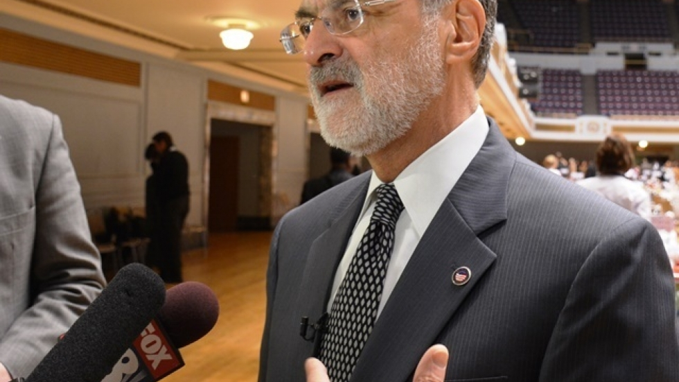 Cleveland Mayor Frank Jackson talks with reporters in March 2014. (Nick Castele / ideastream)