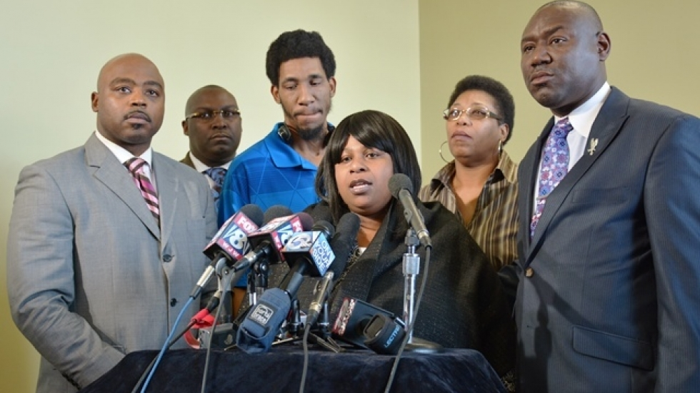 Family of Tamir Rice and their attorneys address media in Cleveland. (Nick Castele / ideastream)