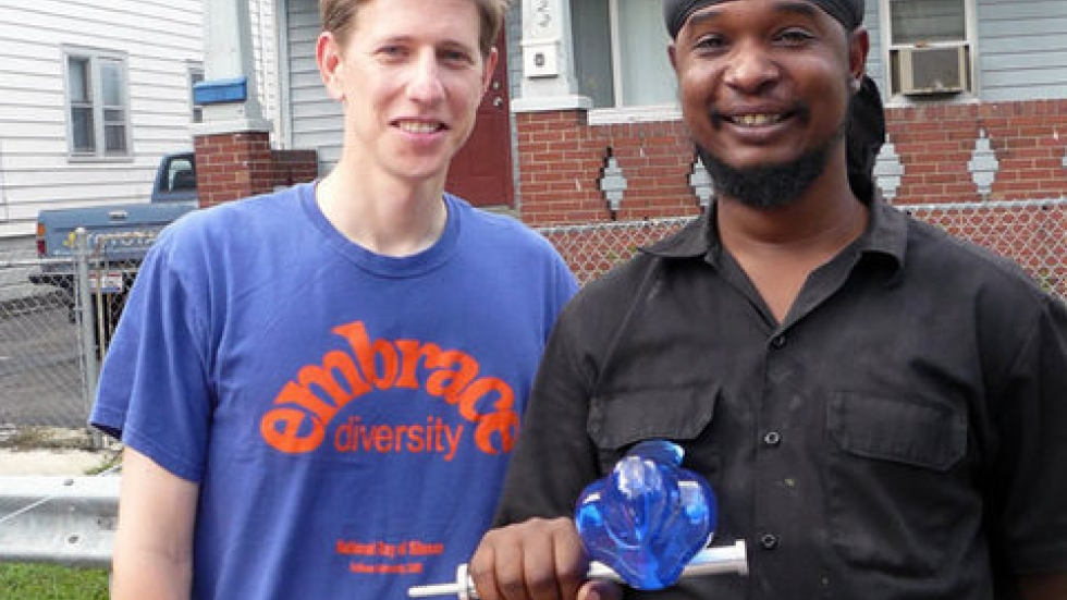 Edgewater Hill residents pose with their blue bird (PHOTO: Land Studio)