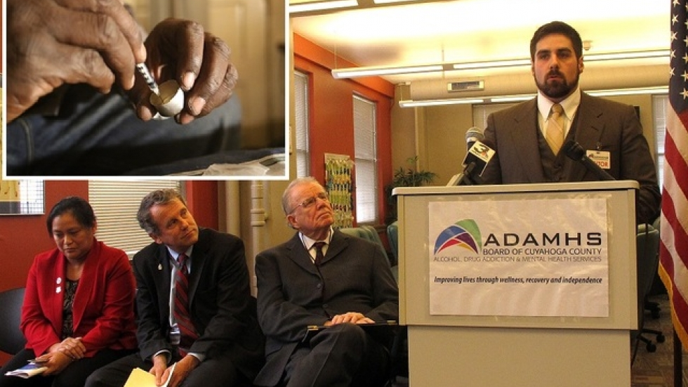 Jordan Puccinelli (podium) talks while Senator Brown (middle seat) and others listen (pics: Brian Bull, WBEZ (inset)).