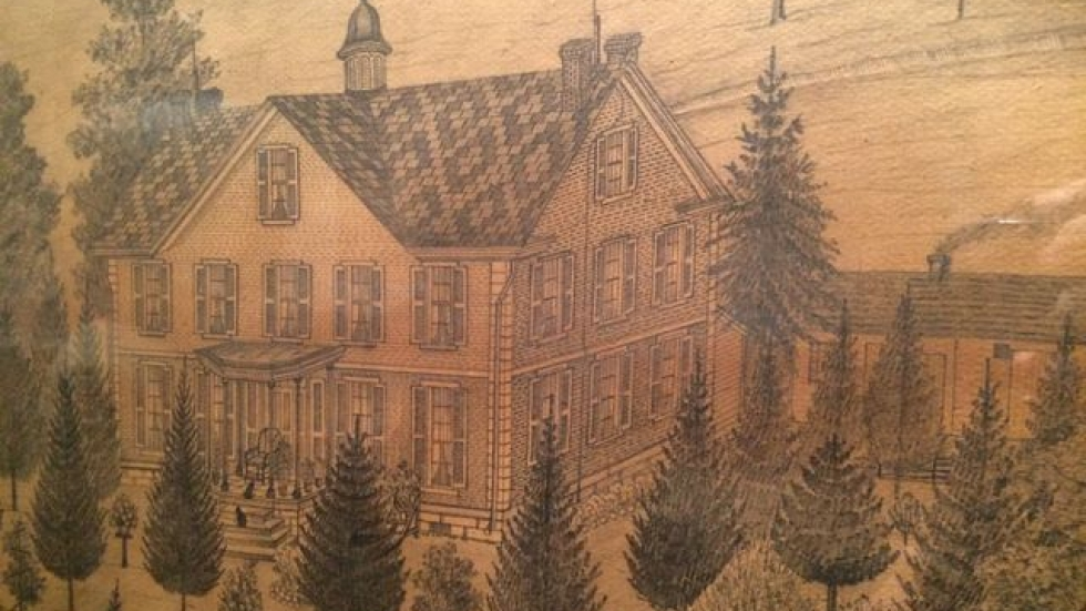Brader's sketch of Bell Tower Farm in Tuscarawas County, Ohio. (Tony Ganzer/WCPN)