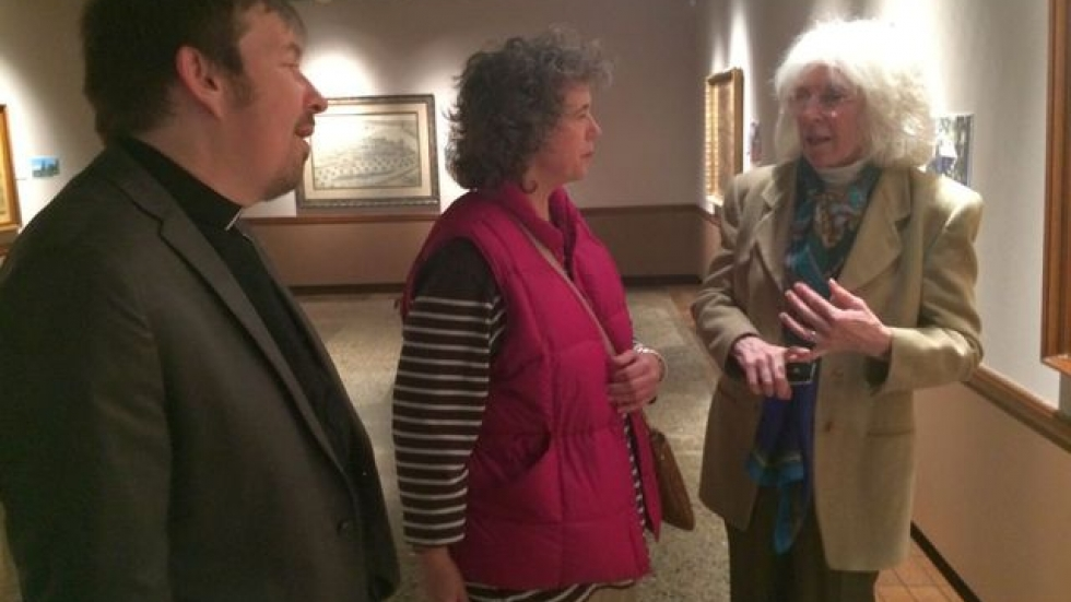 Curator Wieschaus-Voss (right) with Daniel Grimminger (left) and Della Clason Sperling (center). (Tony Ganzer/WCPN)