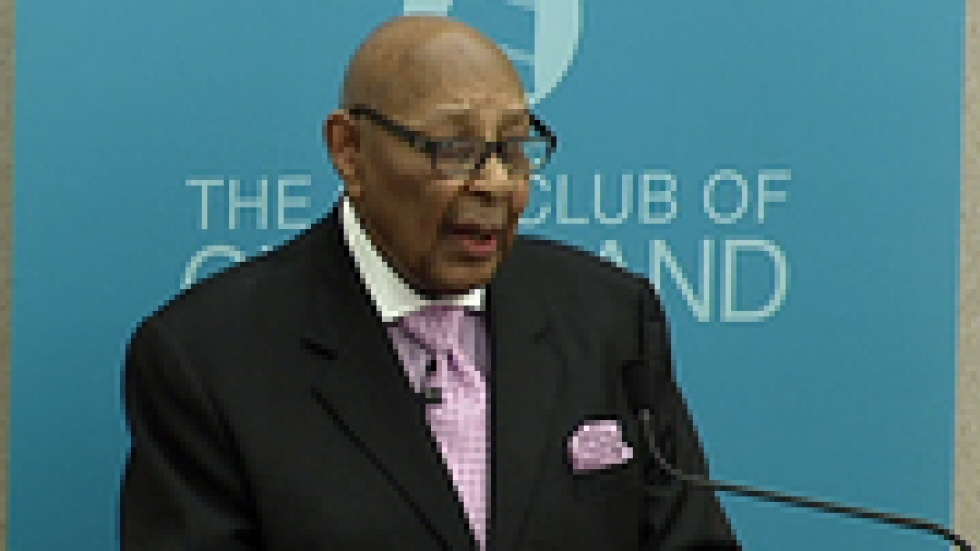 Stokes speaking at The City Club in Cleveland. Photo coutresy of The City Club/Ideastream.
