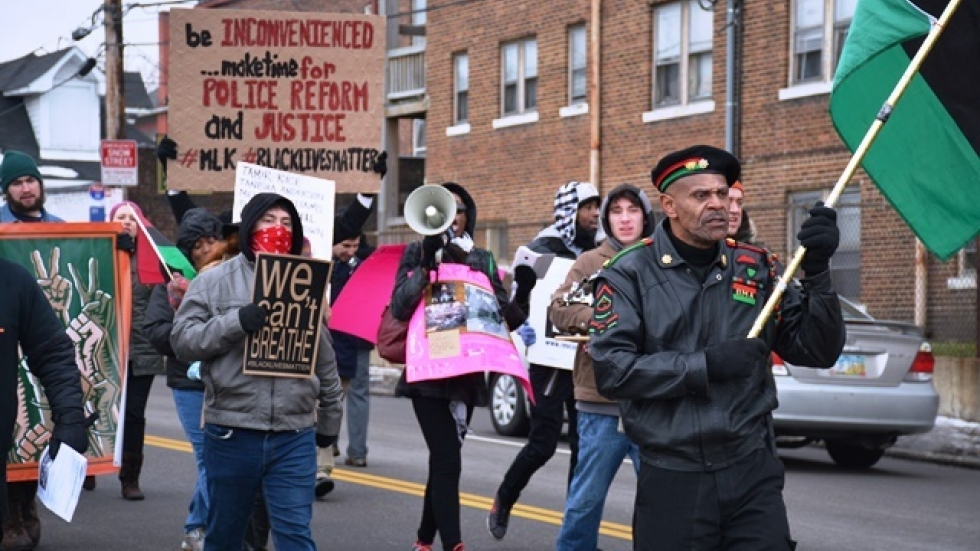 Protesters marched up West Boulevard in Cleveland. (Nick Castele / ideastream)